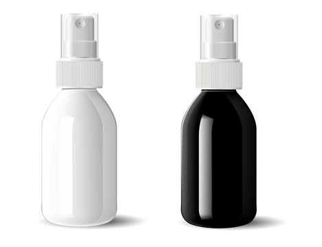 Realistic black and white glossy glass or plastic Cosmetic bottles can sprayer container set. Dispenser cockup template for cream, soups, and other cosmetics or medical products. Vector illustration.