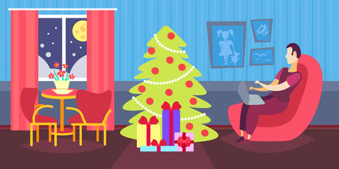 man using laptop in living room decorated merry christmas happy new year winter holiday concept fir tree home interior decoration flat horizontal vector illustration