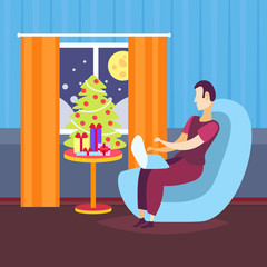 man using laptop in living room decorated merry christmas happy new year winter holiday concept fir tree home interior decoration flat vector illustration