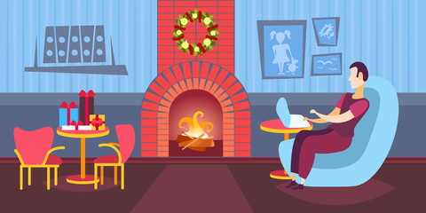 man using laptop in living room decorated fireplace merry christmas happy new year winter holiday concept home interior flat horizontal vector illustration