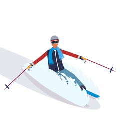 man skiing fresh powder sport activities guy wearing goggles ski suit male carton character sportswoman on skis full length flat isolated vector illustration