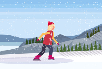 young girl skating ice rink winter sport activities snowy mountain fir tree forest landscape background full length profile flat horizontal vector illustration