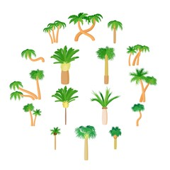 Palm icons set in cartoon style on a white background