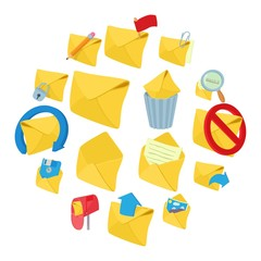 Mail icons set in cartoon style on a white background