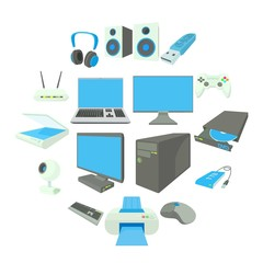 Computer equipmen icons set in cartoon style on a white background