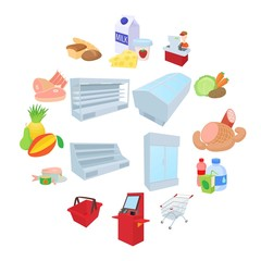 Supermarket icons set in cartoon style on a white background
