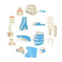 Architecture set icons in cartoon style isolated on white background