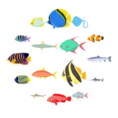 Fish icons set in cartoon style isolated on white background