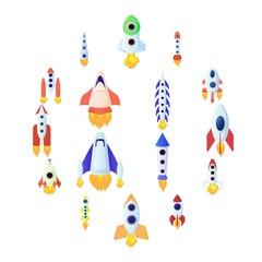 Rocket icons set in cartoon style isolated on white background