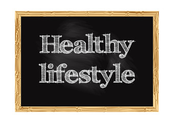 Healthy lifestyle blackboard notice Vector illustration for design
