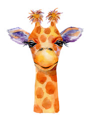Giraffe watercolor illustration isolated on white background.