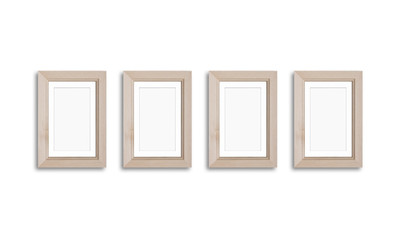 Wooden photo frames mock up, four pictures set collage