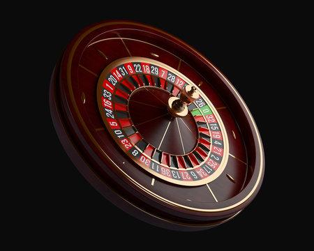 Luxury Casino roulette wheel isolated on black background. Wooden Casino roulette 3d rendering illustration.