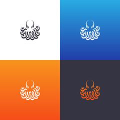 Octopus silhouette set