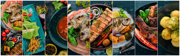 Collage of dishes. Salads, snacks, and meat dishes and fish. On a wooden background. Top view. Fototapete