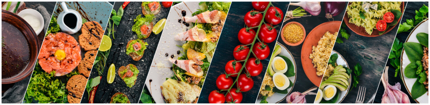 Collage of dishes. Salads, snacks, and meat dishes and fish. On a wooden background. Top view.
