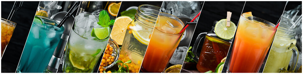 Papiers peints Alcool Collage. Colored Alcoholic Cocktails. Top view. On a wooden background.