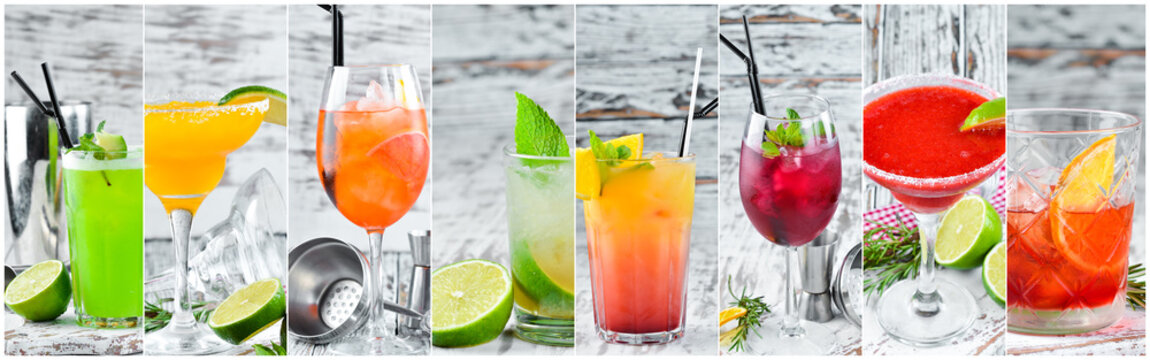 Collage. Colored Alcoholic Cocktails. Top view. On a wooden background.