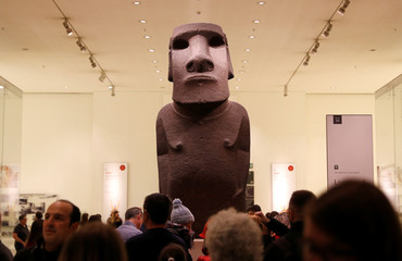 The Hoa Hakananai'a sculpture is seen in the British Museum in London
