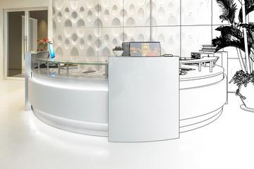 Modern Office Counter (sketch) - 3d visualization