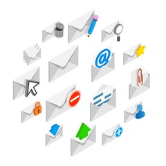 Mail icons set in isometric 3d style isolated on white background