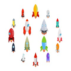 Rocket icons set in isometric 3d style on a white background