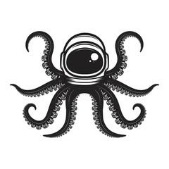 Octopus in spaceman helmet. Design element for poster, emblem, t shirt.