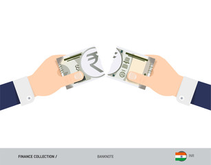 500 Indian Rupee Banknote. Hands tearing banknote. Flat style vector illustration. Business finance concept.