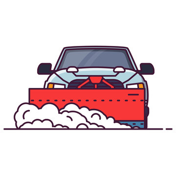 Front view of SUV car with attached snowplower. Line style vector illustration. Off road vehicle in winter clearing road from snow. Cleaning winter road Big truck pixel perfect banner.