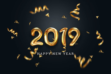 Creative background, Gold numbers Balloons on a dark background, 2019 Happy new year, Number Ball, Air Filled Balloon. New year balloon for decoration, celebration, congratulation. copy space.
