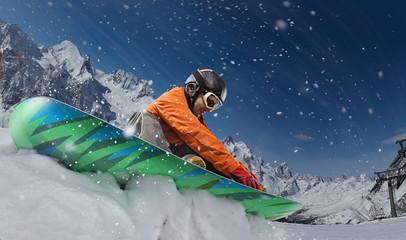 Sport background. Winter sport, snowboarder.