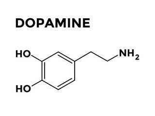 Dopamine structural chemical formula vector