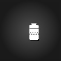 Plastic bottle icon flat. Simple White pictogram on black background with shadow. Vector illustration symbol