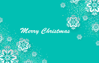 Christmas holiday design with paper cut snowflake style. Gentle green background with greeting text. Vector i