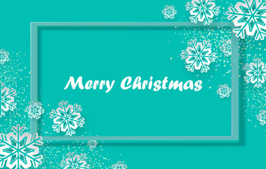 Christmas holiday design with paper cut snowflake style. Gentle green background with greeting text. Vector