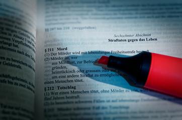 Gesetzestext von in deutsch Paragraph § 211 StGB Strafgesetzbuch Mord in englisch Paragraph § 211 StGB criminal code murder