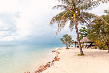 Bright beautiful tropical beach with white sand and palm trees before a thunderstorm