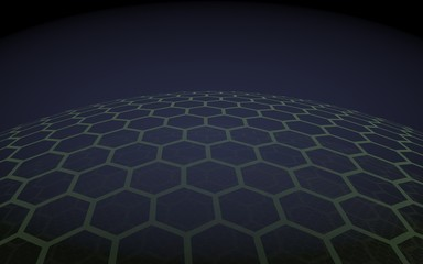 Multilayer sphere of honeycombs, gray on a dark background, social network, computer network, technology, global network. 3D illustration