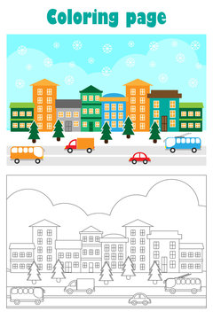 Christmas picture with snowy city in cartoon style, xmas coloring page, education paper game for the development of children, kids preschool activity, printable worksheet, vector illustration