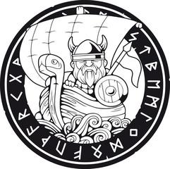 cartoon funny viking floating on the ship, funny illustration