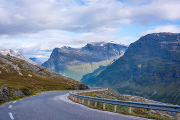 Road leading down from Geiranger mountain in Norrway,
