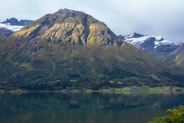 Natural mountain landscape at summer in Oppstryn Norway.