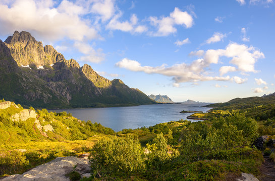 Natural mountain landscape at summer in Lofoten, Norway.