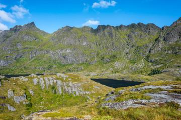 Natural mountain landscape at summer in Lofoten, Norway.