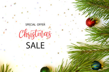 Merry Christmas sale background with Christmas decorations.
