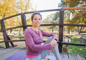 Portrait Of Smiling Beautiful Young Woman Ready For Yoga Exercise