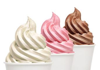 Soft ice cream or Vanilla frozen yogurt with strawberry and chocolate  isolated on white background