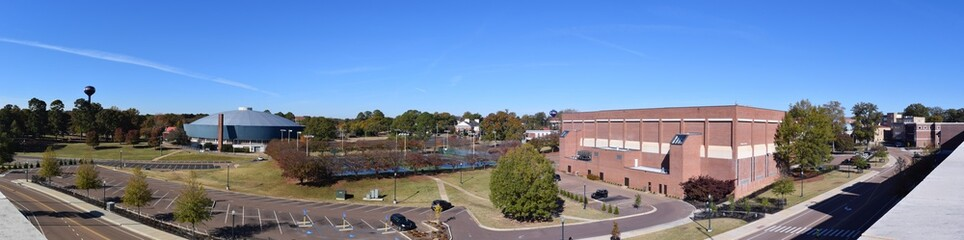 View from the Pavilion parking garage roof at the University of Mississippi