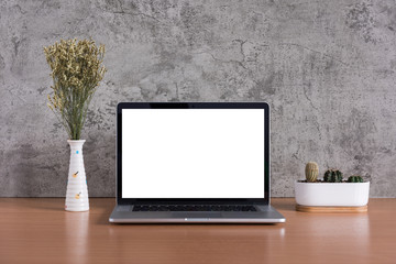 Blank screen of laptop computer with dry flowers and cactus vase on raw concrete background