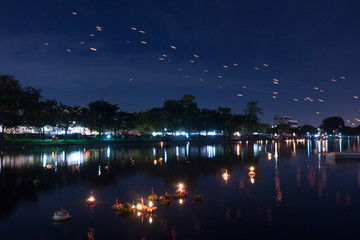 Loy Kratong Festival celebrated during the full moon of the 12th month in the traditional Thai calendar.